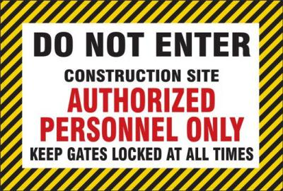 Do Not Enter - Construction Site - Authorized Personnel Only Mesh Gate Screen