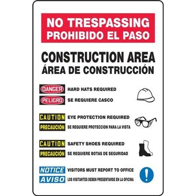 No Trespassing - Construction Area (Bilingual Spanish) Site Safety Sign