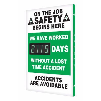 On the Job Safety Begins Here _ Days Without a Lost Time Accident Safety Scoreboard