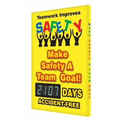 Teamwork Improves Safety _ Days Accident-Free Safety Scoreboard ...
