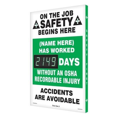 On the Job Safety (Name Here) Has Worked _ Days Without OSHA Accident Safety Scoreboard