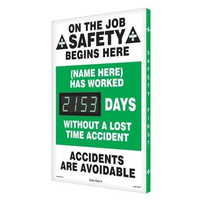 On the Job Safety (Name Here) Has Worked _ Days Without Accident Safety Scoreboard