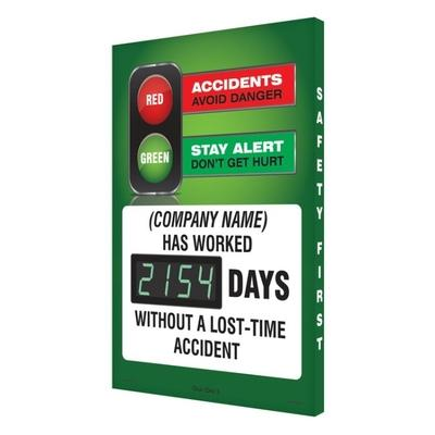 Red & Green (Company Name) Has Worked _ Days Without Accident Safety Scoreboard