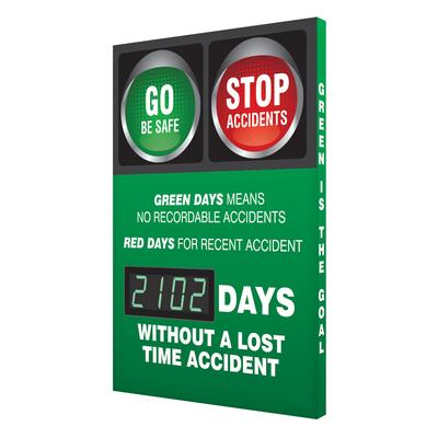 Go Be Safe Stop Accidents _ Days Without a Lost Time Accident Safety Scoreboard
