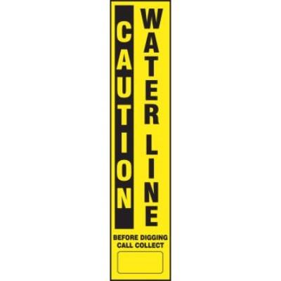 Caution - Water Line Buried Utility Label (Curve Flex Stake Included)