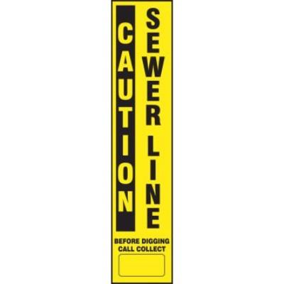 Caution - Sewer Line Buried Utility Label (Curve Flex Stake Included)