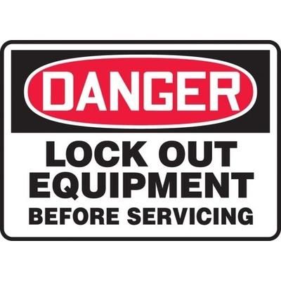 Danger - Lock Out Equipment Before Servicing OSHA Lockout Sign