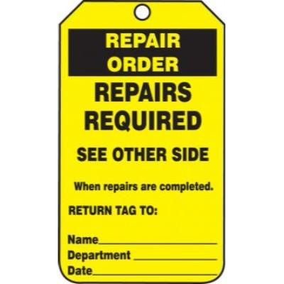 Repair Order - Repairs Required Inspection Tag