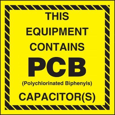 This Equipment Contains PCB Capacitors - PCB Label