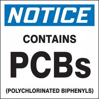 Notice - Contains PCBs OSHA PCB Label