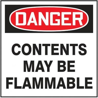 Danger - Contents May Be Flammable OSHA Hazardous Waste Label