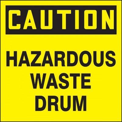 Caution - Hazardous Waste Drum OSHA Hazardous Waste Label