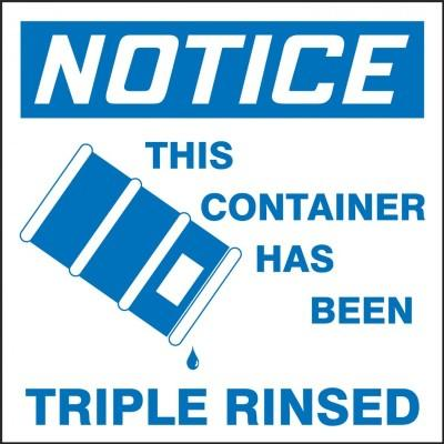 Notice - This Container Has Been Triple Rinsed OSHA Hazardous Waste Label (Graphic)