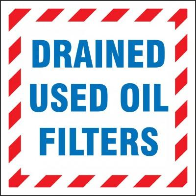 Drained Used Oil Filters Hazardous Waste Label