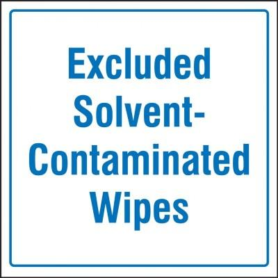 Excluded Solvent-Contaminated Wipes Hazardous Waste Label