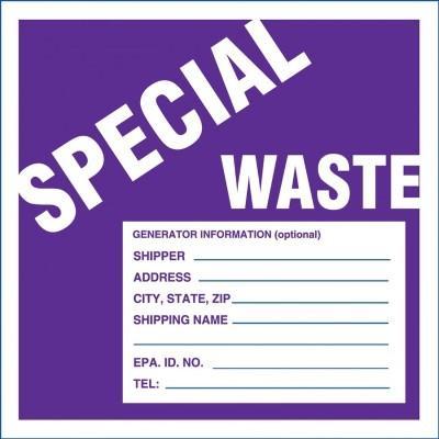 Special Waste (Fill-in) Hazardous Waste Label