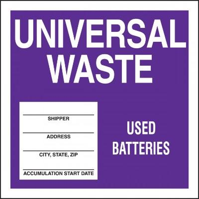Universal Waste - Used Batteries Hazardous Waste Label