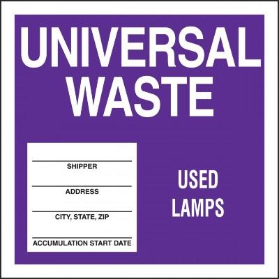 Universal Waste - Used Lamps Hazardous Waste Label