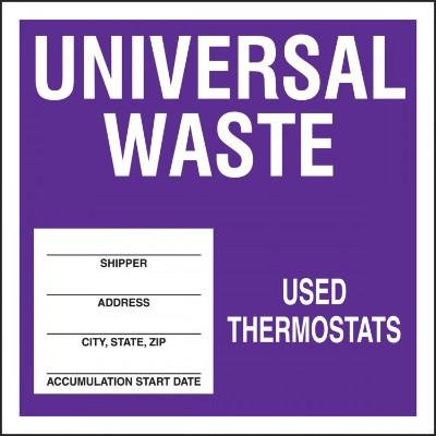 Universal Waste - Used Thermostats Hazardous Waste Label