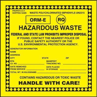 ORM-E (RQ) Hazardous Waste Label