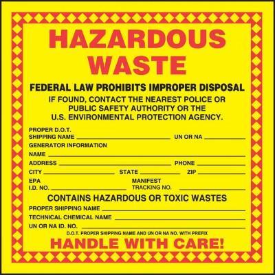 Hazardous Waste - Contains Hazardous Wastes Label (Proper Shipping Name)