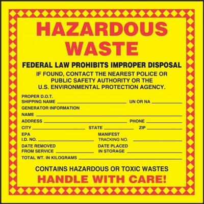 Hazardous Waste - Contains Hazardous or Toxic Wastes Label