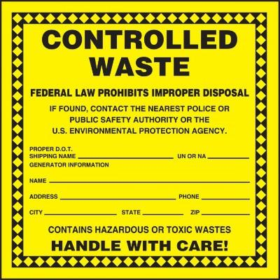 Controlled Waste - Contains Hazardous or Toxic Wastes Label