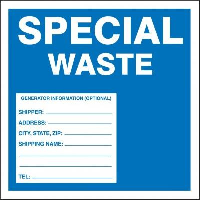 Special Waste Label (Blue)