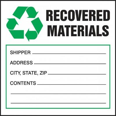 Recovered Materials (Fill-in) Hazardous Waste Label