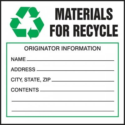 Materials for Recycle (Fill-in) Hazardous Waste Label