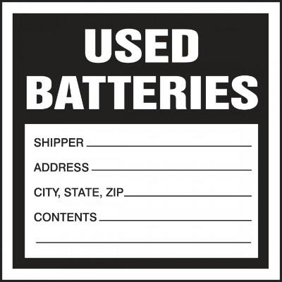 Used Batteries - Hazardous Waste Label