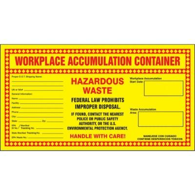 Workplace Accumulation Container - Hazardous Waste Label