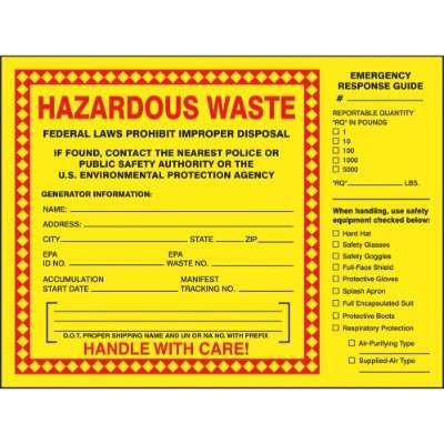 Hazardous Waste - Emergency Response Guide Label