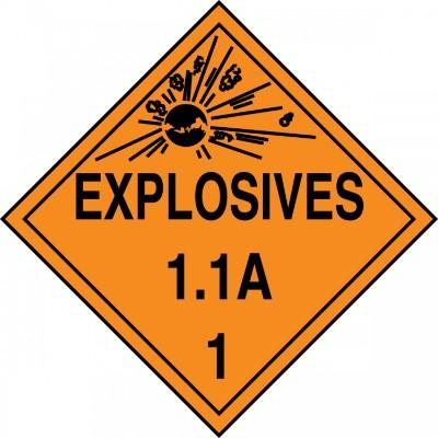 Hazard Class 1 - Explosives 1.1A DOT Placard