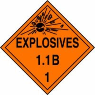 Hazard Class 1 - Explosives 1.1B DOT Placard