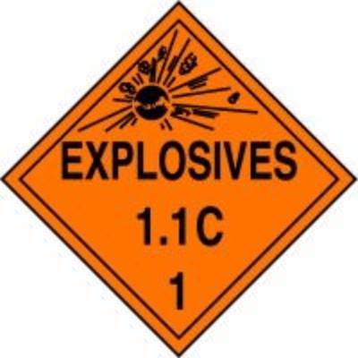 Hazard Class 1 - Explosives 1.1C DOT Placard