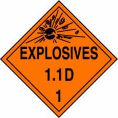 Hazard Class 1 - Explosives 1.1D DOT Placard