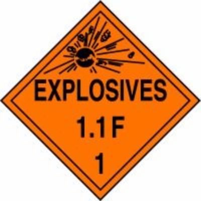 Hazard Class 1 - Explosives 1.1F DOT Placard