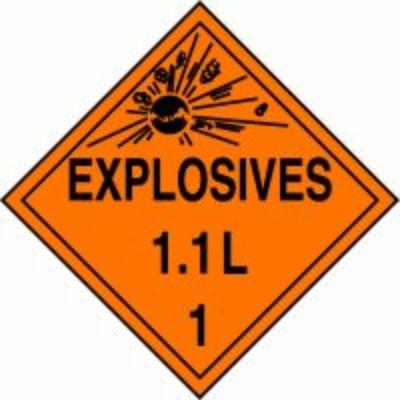 Hazard Class 1 - Explosives 1.1L DOT Placard