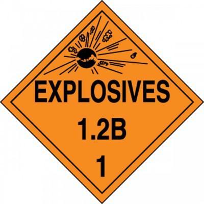 Hazard Class 1 - Explosives 1.2B DOT Placard