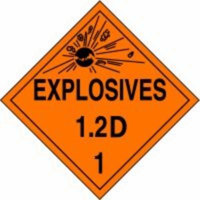 Hazard Class 1 - Explosives 1.2D DOT Placard