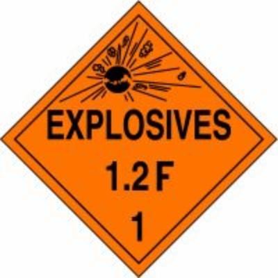 Hazard Class 1 - Explosives 1.2F DOT Placard