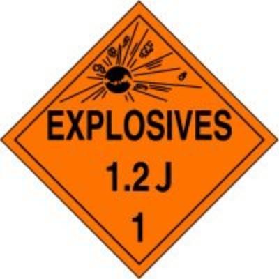 Hazard Class 1 - Explosives 1.2J DOT Placard