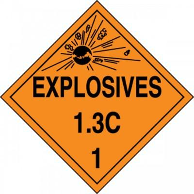 Hazard Class 1 - Explosives 1.3C DOT Placard