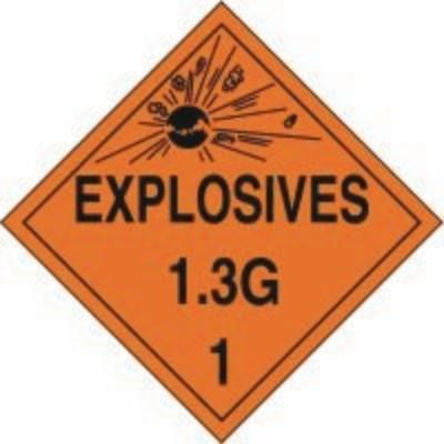 Hazard Class 1 - Explosives 1.3G DOT Placard