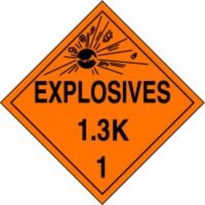 Hazard Class 1 - Explosives 1.3K DOT Placard
