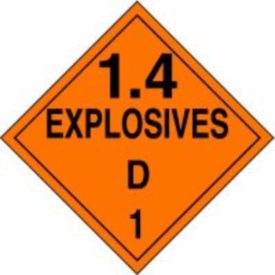 Hazard Class 1 - Explosives 1.4D DOT Placard