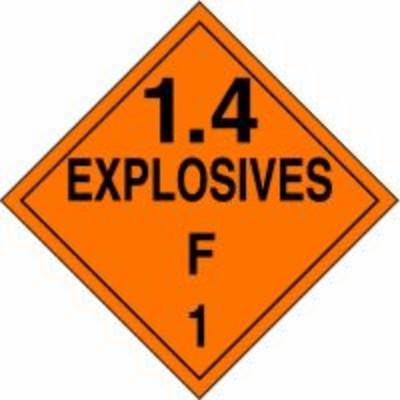Hazard Class 1 - Explosives 1.4F DOT Placard