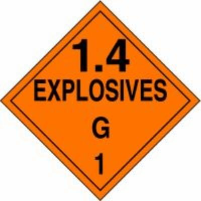 Hazard Class 1 - Explosives 1.4G DOT Placard