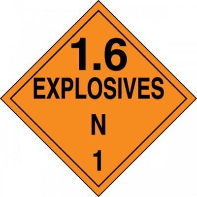 Hazard Class 1 - Explosives 1.6N DOT Placard